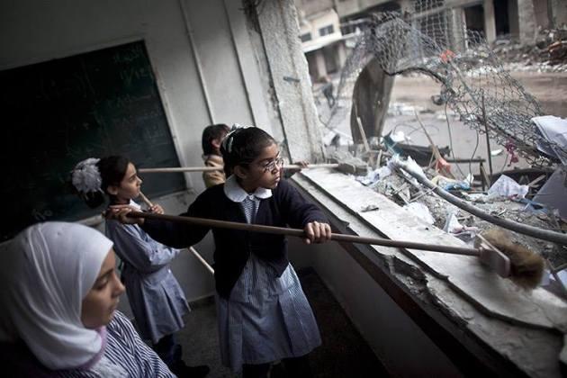 Kids sweeping bomb blast